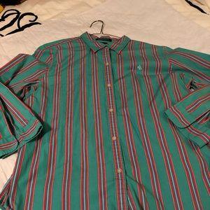 Lauren-Ralph Lauren Button Down Shirt-size L-EUC
